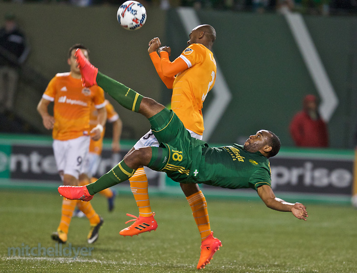 November 5, 2017; Portland, OR, USA; Portland Timbers midfielder Amobi Okugo (18) takes a shot in the first half at Providence Park. Photo: Craig Mitchelldyer-Portland Timbers (Craig Mitchelldyer)