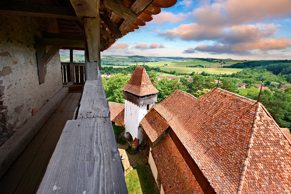View of the church tower of the Szekly medieval fortified church of Viscri, Buneşti, Braşov, Transylvania. Started in the 1100's. UNESCO World Heritage Site (, Paul E Williams)