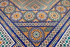 Berber Arabesque  Zellige tiles of the Marrakesh museum in the Dar Menebhi Palace, Marrakesh, Morocco (Paul E Williams)