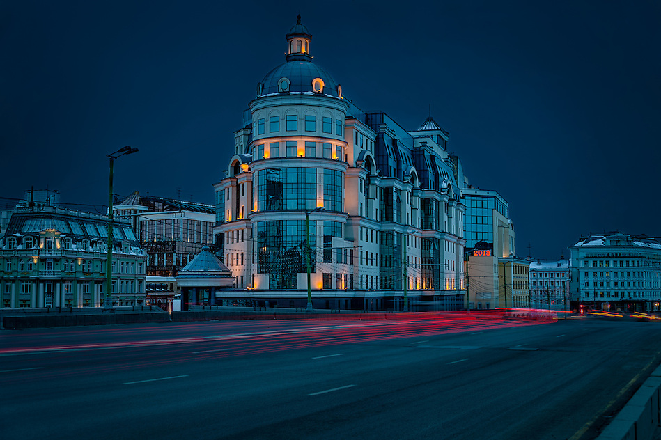 View of building at night in Moscow, Russia.