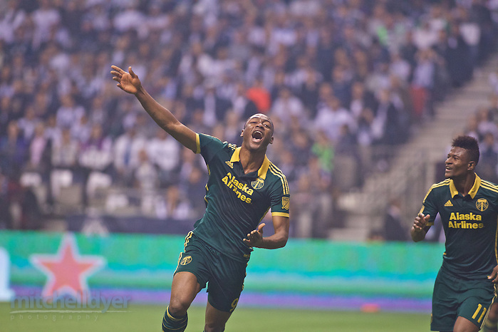 Nov 8, 2015; Vancouver, BC, Canada; Timbers forward Fernando Adi celebrates after scoring a goal at BC Place. Photo: Craig Mitchelldyer-Portland Timbers (Craig Mitchelldyer)
