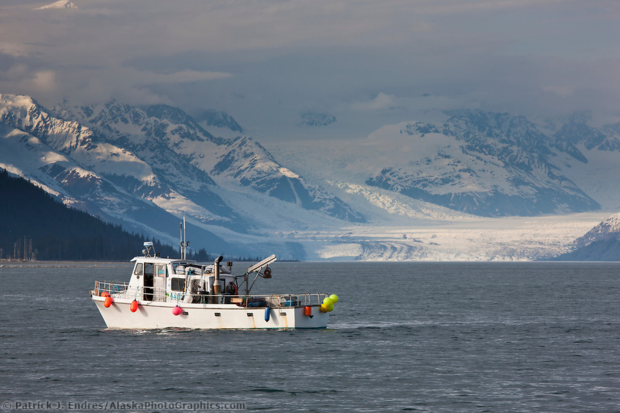 Shrimp fishing boat in Port Wells, with a view north to the Chugach mountains and Harvard glacier in College Fjord, Prince William Sound, Alaska. (Patrick J. Endres / AlaskaPhotoGraphics.com)