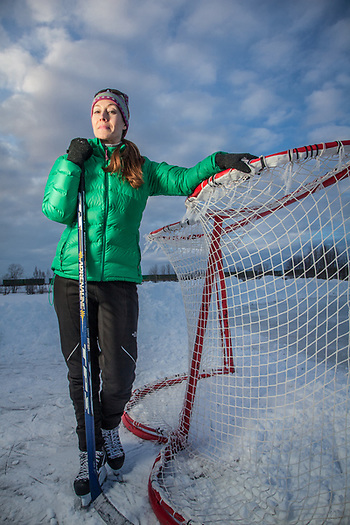 Middle school teacher and co-ed hockey player, Jessica Norton, Westchester Lagoon, Anchorage (Clark James Mishler)