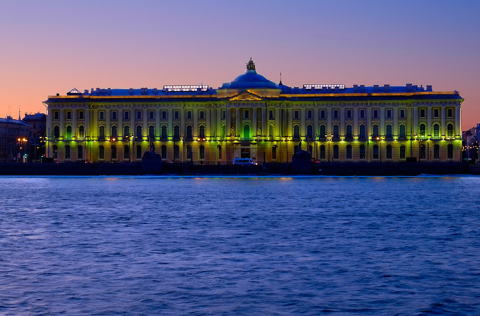 View of the Academy of Arts Building at night in St. Petersburg. (Daniel Korzeniewski)