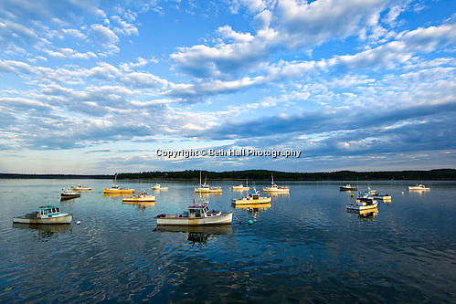 Lobster boats seen against a cloudy blue sky are lit by morning sunlight. (Beth Hall)