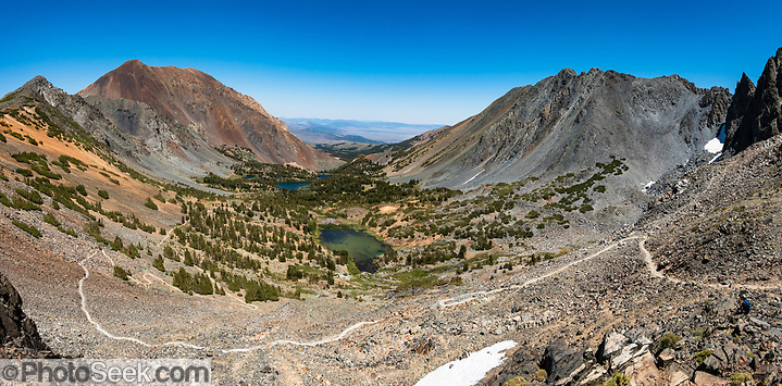 View Virginia Lakes from Burro Pass in Hoover Wilderness of Humboldt-Toiyabe National Forest, Eastern Sierra Nevada, Mono County, California, USA. Multiple overlapping photos were stitched to make this panorama. (© Tom Dempsey / PhotoSeek.com)