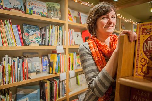Owner Tegan Tigani at Queen Anne Book Co., Queen Anne Hill, Seattle, Washington  tegan@qabookco.com (© Clark James Mishler)