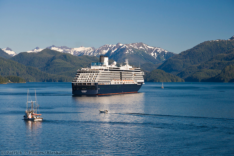 Commercial fishing vessel passes Holland America cruise ship Oosterdam, in Sitka Sound, Sitka, southeast, Alaska. (Patrick J. Endres / AlaskaPhotoGraphics.com)