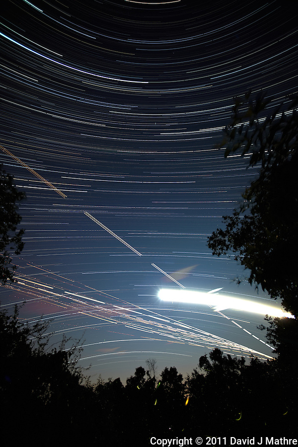 Star, Moon, Jet, and Firefly Trails. Summer Night in New Jersey. Image taken with a Nikon D3x and 14 mm f/2.8D lens (ISO 200, 14 mm, f/4, 8 sec). Composite of 980 images combined using the Startrails program. (David J Mathre)