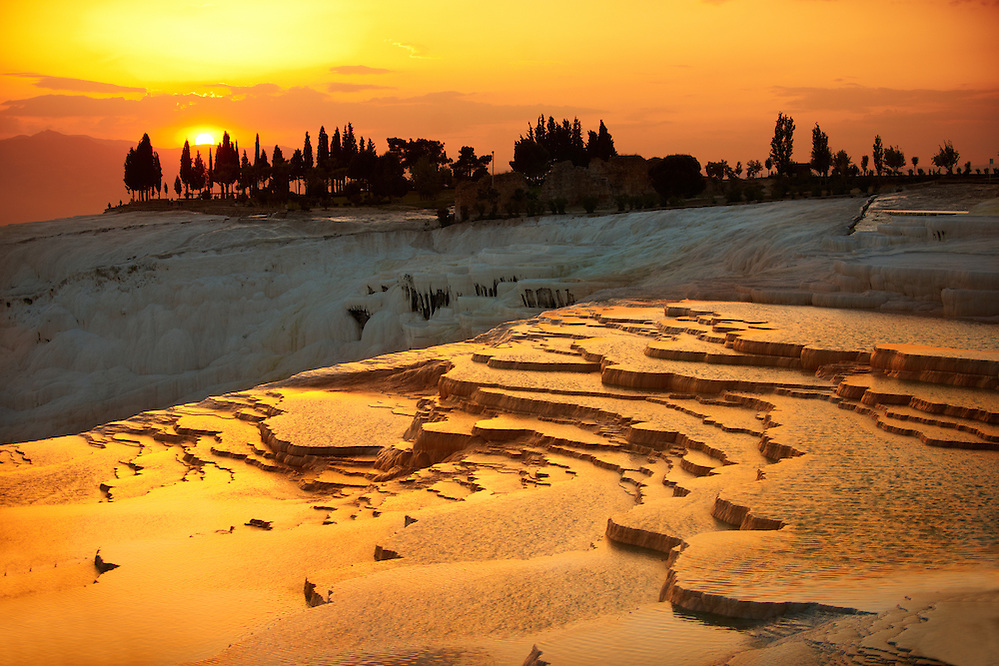 Photo & Image  of Pamukkale Travetine Terrace, Turkey, at sunset. Images of the white Calcium carbonate rock formations. Buy as stock photos or as photo art prints. 3 (Paul E Williams)