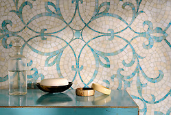 Marabel jewel glass mosaic shown in Aquamarine and Quartz. (Picasa)