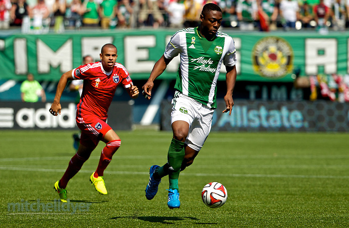 September 7, 2014; Portland, OR, USA; Portland Timbers forward Fanendo Adi (9) brings the ball forward at Providence Park. Photo: Craig Mitchelldyer-Portland Timbers (Craig Mitchelldyer)
