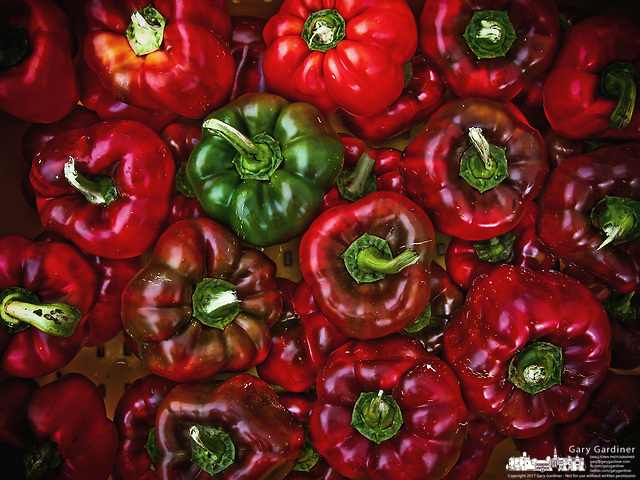 Red and green peppers for sale at farmers market (Gary Gardiner/SmallTown Stock)