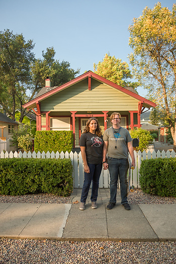 "Eighteen year old Patricia Jamie and 19 year olf Ryan Roberson pause during their walk home on Fair Way in Calistoga.   ""I thought I wanted to be an animation artist but decided that I wanted art to be the spark...not the paycheck.""  -Patricia Jamie   ""And, I thought I wanted to be an architect but I had a bad internship that made me decide to pursue my second career choice...working with kids.""  ""We're moving to Humboldt County...we want to study psychology.""  -Ryan Roberson (Clark James Mishler)"
