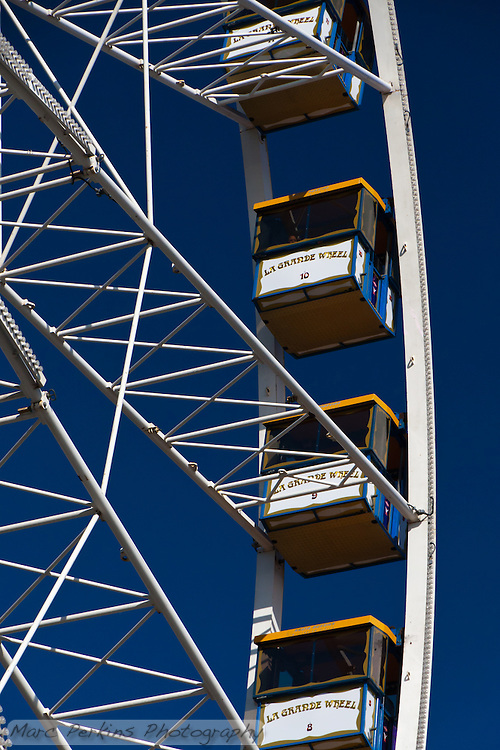 "The Orange County Fairgrounds RCS ferris wheel, seen at the 2011 Orange County Fair.  The cars are numbered, and labeled with ""La Grande Wheel."" (Marc C. Perkins)"