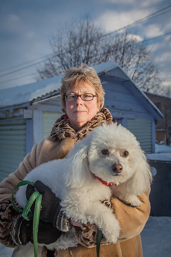 Neighbor Margaret King and her dog, in Anchorage's South Addition neighborhood (© Clark James Mishler)