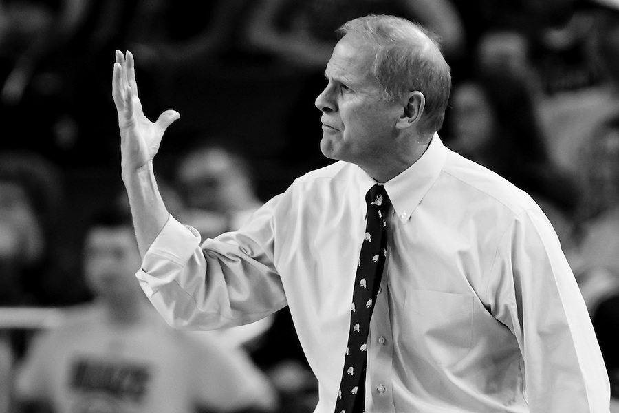 Nov 13, 2015; Ann Arbor, MI, USA; Michigan Wolverines head coach John Beilein reacts against Northern Michigan Wildcats at Crisler Center. Mandatory Credit: Rick Osentoski-USA TODAY Sports (Rick Osentoski/Rick Osentoski-USA TODAY Sports)