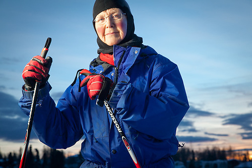 Retired teacher and cross country skiier, Brrenda McLaughlin, near Westchester Lagoon, Anchorage (Clark James Mishler)
