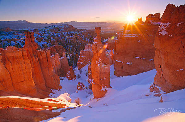 Winter sunrise on Thor's Hammer, Bryce Canyon National Park Utah USA (Russ Bishop/Russ Bishop Photography)
