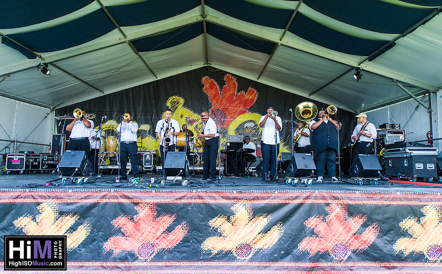 The New Wave Brass Band performs at Jazz Fest 2016 in New Orleans, LA. (High ISO Music, LLC)