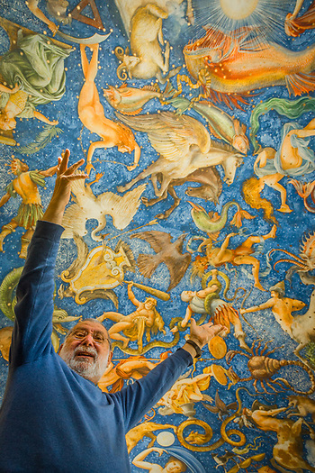 """Artist Carlo Marchiori expresses exuberance for """"The Sixteenth Chapel"""", his exploration of the northern hemisphere constellation painted on the ceiling of his Ca'toga Galleria D'Arte in Calistoga. (Clark James Mishler)"""