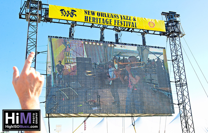 Jeff Beck playing with Jason Rebello on keyboards, Rhonda Smith on bass, and  Narada Michael Walden on drums at Jazz Fest 2011 in New Orleans, LA on day 1. (Golden G. Richard III)