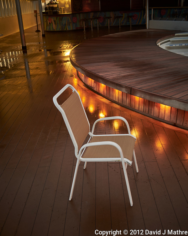 Lone Deck Chair at Dawn. Image taken with a Leica X2 camera (ISO 100, 24 mm, f/2.8, 1/30 sec). (David J Mathre)