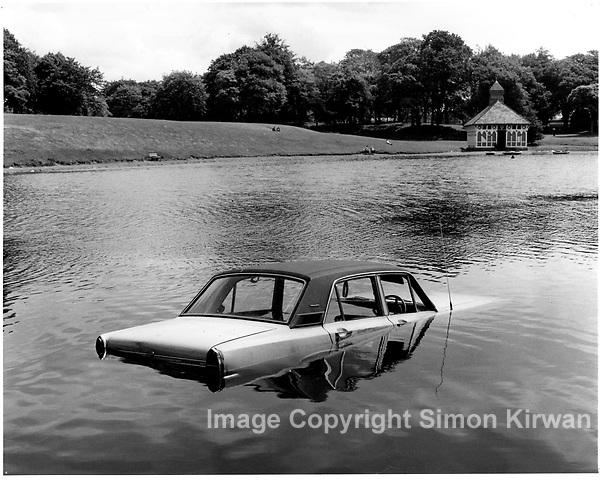 Car in Sefton Park Lake, Liverpool, 1979 - Photography by Simon Kirwan