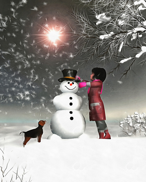 Amy and Buddy find themselves in an enchanting, breathtaking winter wonderland. There is no actual magic in this scene, in which Amy and her faithful dog Buddy work on a snowman together, and yet we can sense that magic all the same. There is something about this scene that brings to mind the very best of winter. It takes us deep into our own memories of those perfect moments in the wintertime. We can look at this moment, and look ahead to where Buddy and Amy will turn up next. Most likely, beside a roaring fire. Available as wall art, on t-shirts, or interior home décor products. (Jan Keteleer)