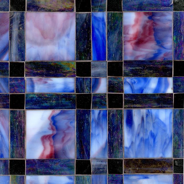 Connor Jewel glass mosaic field shown in Rhodolite, Amethyst and Obsidian. (New Ravenna Mosaics 2012)