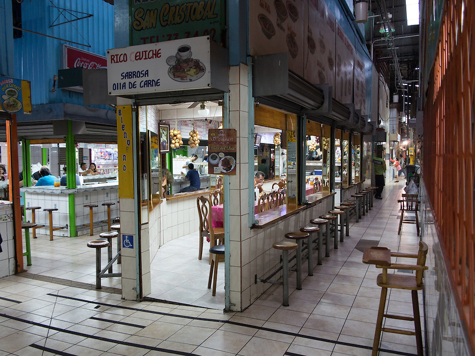 SAN JOSE, COSTA RICA - CIRCA AUGUST 2012: Alley in the Central Market circa 2012 in San Jose, a very popular attraction and the biggest market in the city  with more than 10.000 daily visitors. (Daniel Korzeniewski)