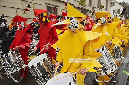 BASEL, SWITZERLAND - MARCH 02, 2009: Unidentified people take part in Basel Carnival in Basel, Switzerland. (Dmitry Chulov)