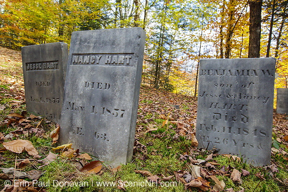 Graveyard at Thornton Gore in Thornton, New Hampshire during the autumn months.