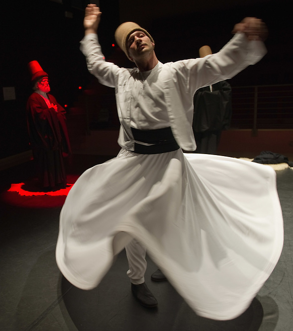 VENICE, ITALY - JUNE 21:  A whirling Dervish of the Galata Mevlevi Ensemble,declared UNESCO World Heritag, perfoms under the guidance of Sheikh Nail Kesova at Auditorium Candiani on June 21, 2011 in Venice, Italy. The whirling dance associated with Dervishes, is the practice of the Mevlevi Order in Turkey, and is part of a formal ceremony known as the Sema which is only one of the many Sufi ceremonies performed to try to reach religious ecstasy (Marco Secchi)
