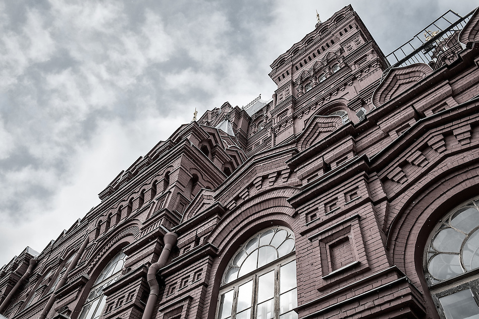 Detail of Facade of the State Historical Museum in Moscow while snowing in winter (Daniel Korzeniewski)