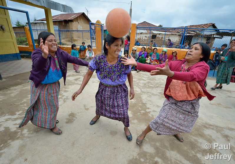 Maria Valentina Lopez appears to be heading the ball as indigenous women play basketball in Tuixcajchis, a small Mam-speaking Maya village in Comitancillo, Guatemala. (Paul Jeffrey)