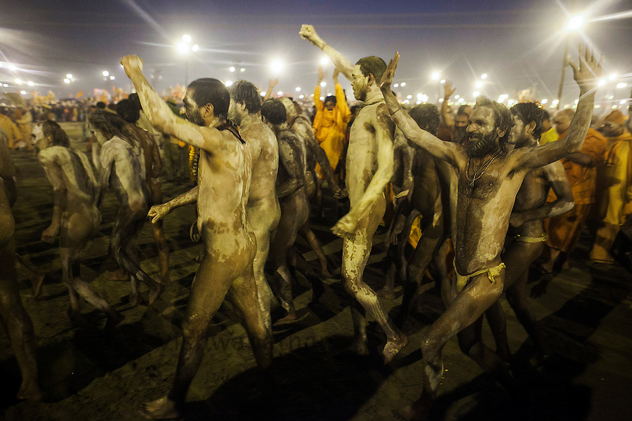 Naga Sadhu dance as they return after taking a dip in the river ganges, during the Kumbh Mela in Allahabad on February 10, 2013.Prashanth Vishwanathan/HELSINGIN SANOMAT (Prashanth Vishwanathan)
