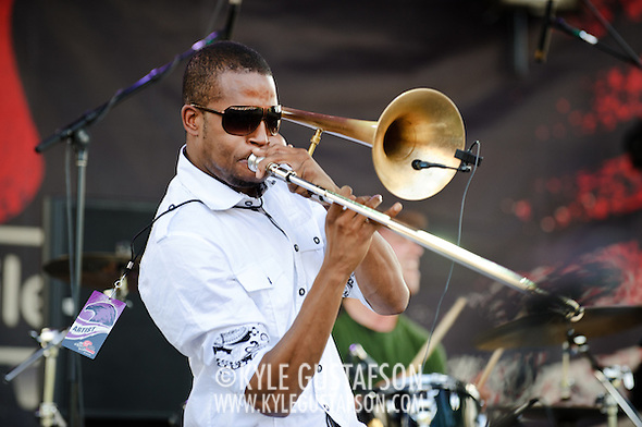 "COLUMBIA, MD - SEPTEMBER 25th, 2010:  Troy ""Trombone Shorty"" Andrews and his brass band perform at the 2010 Virgin Mobile FreeFest at Merriweather Post Pavilion. (Photo by Kyle Gustafson/For The Washington Post) (Photo by Kyle Gustafson/For The Washington Post)"