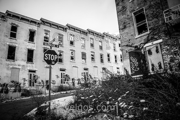 Cincinnati Glencoe-Auburn abandoned buildings. The Glencoe-Auburn Hotel and Glencoe-Auburn Place Row Houses were built in the late 1800's and are listed on the U.S. National Register of Historic Places. The complex is currently abandoned and in extremely poor condition. Photo is black and white high resolution. (Paul Velgos)