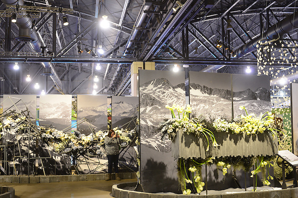 Photographer Ansel Adams forms the inspiration behind a large black-and-white floral display at the 2016 PHS Flower Show. Adams job is currently up for grabs as the National Parks Service is searching for a dedicated photographer to step I the shoes of the historic significant landscape photographer. 'Explore America' is the theme for the 2016 edition of the Pennsylvania Horticulture Society Flower Show. The annual show, the largest in its kind, is held at the Pennsylvania Convention Center in Center City Philadelphia PA., and runs till March 13. (Bastiaan Slabbers)