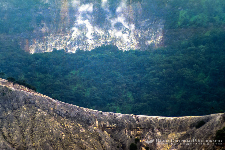 Indonesia, Java, Parompong. Tangkuban Prahu. Kawah Upas, the secondary crater, is behind this mountain ridge. Hot gases steams out of the mountain side. (Photo Bjorn Grotting)