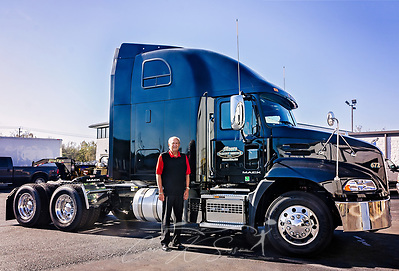 Dan Moore, owner and founder of Moore Freight Service, stands beside one of the company's Mack Pinnacles, Oct. 31, 2017, in Mascot, Tenn. After having numerous problems with another vendor, Moore switched to all-Mack fleet, a move which saved money and alleviated his uptime issues. (Photo by Carmen K. Sisson/Cloudybright) (Carmen K. Sisson/Cloudybright)
