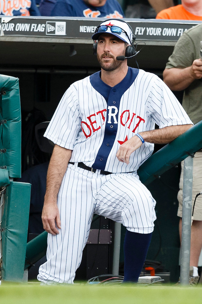 May 24, 2014; Detroit, MI, USA; Detroit Tigers starting pitcher Justin Verlander (35) takes part in the broadcast during the game against the Texas Rangers at Comerica Park. Mandatory Credit: Rick Osentoski-USA TODAY Sports (Rick Osentoski/Rick Osentoski-USA TODAY Sports)