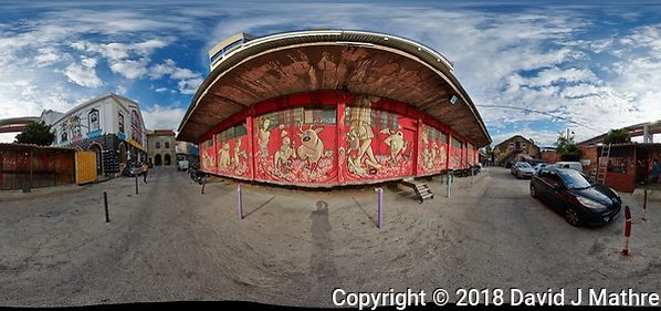 LZ Factory Back Street - 360 Degree Panorama. Composite of 25 images taken with a Nikon D850 camera and 8-15 mm fisheye lens (ISO 110, 15 mm, f/8, 1/320 sec). Raw images processed with Capture One Pro and stitched together with AutoPano Giga. (DAVID J MATHRE)