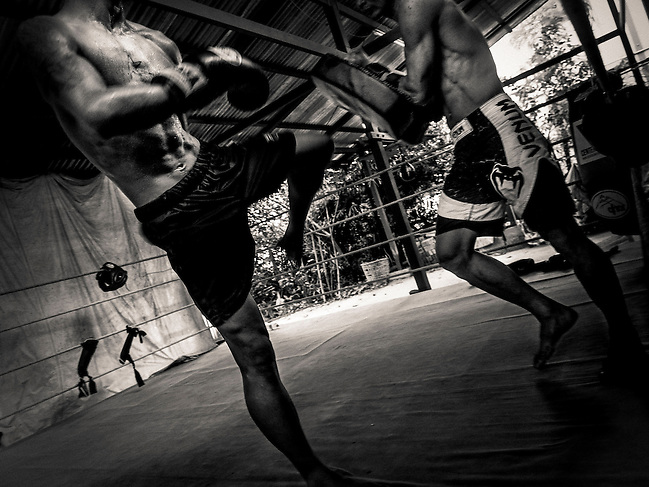 Vittore Buzzi Photography Yangon, Myanmar Lethwei - Let Wei Burma Boxe. Lone Chaw was 3 times Myanmar National Champion. Lethwei's real legend. Gym (Vittore Buzzi)