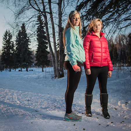 "Real estate agent Hannah Tweit and flight attenant Katie Bee on the bike path near Valley of the Moon, Anchorage  ""We have known eachother since middle school…we're planning a trip to Las Vegas.""  hetweit@gmail.com (© Clark James Mishler)"