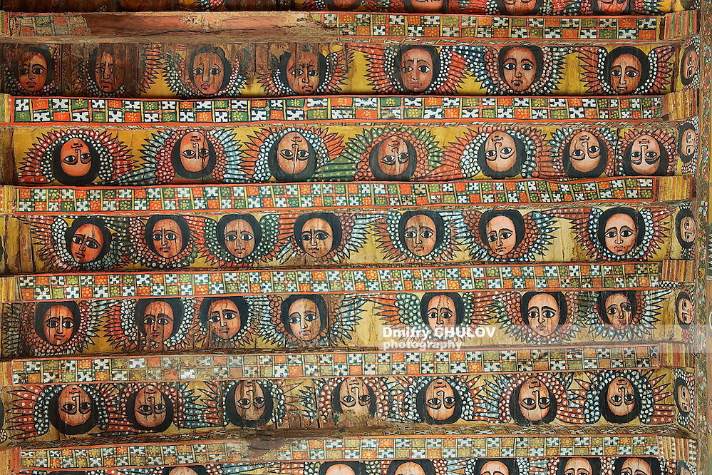 Unique ceiling paintings in Debre Birhan Selassie church in Gondar, Ethiopia. (Dmitry Chulov)