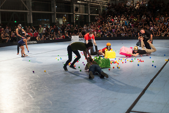 "During half-time of the Berkeley Resistance and Oakland Outlaws league championship bout at the Craneway Pavilion in Richmond, contestants played ""Hungry Hungry Human."" Berkeley won their first league title 161-143. (bryan farley)"