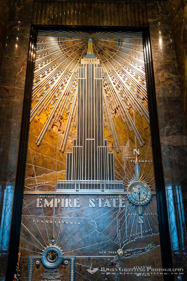 US, New York City. Lobby, Empire State Building. (Photo Bjorn Grotting)