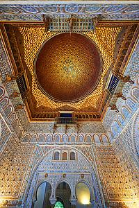 Arabesque Mudjar plasterwork of the 12th century roof of the Salón de Embajadores (Ambassadors' Hall or Throne Room). Alcazar of Seville, Seville, Spain (Paul E Williams)